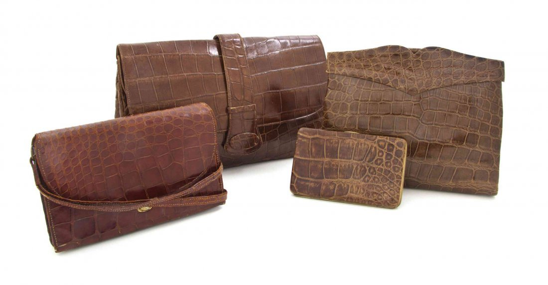 A Group of Four Brown Lizardskin Bags,