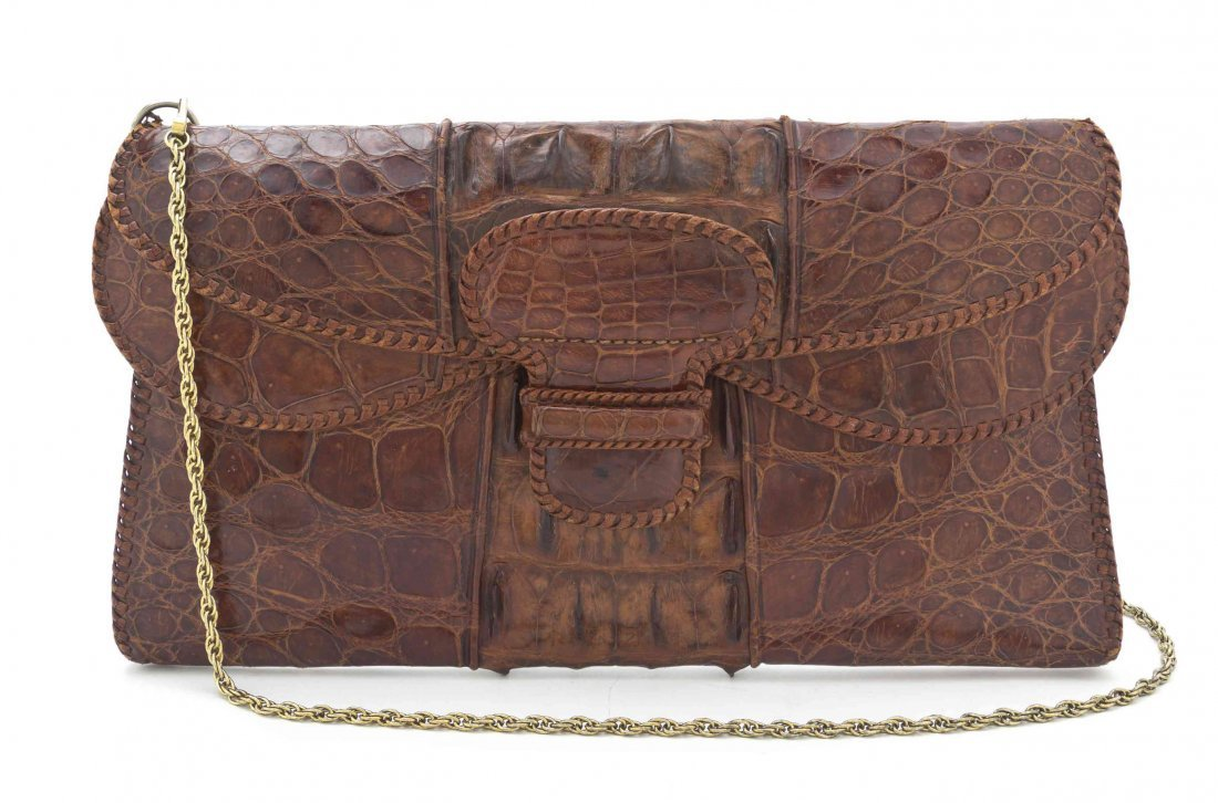 A Brown Crocodile Envelope Bag, 13 3/4 x 7 3/4 inches.