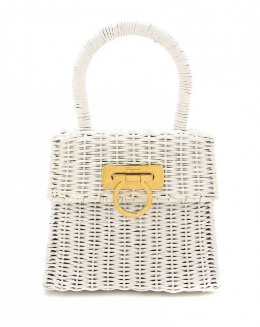 9a05a48648da A Salvatore Ferragamo White Patent Wicker Bag