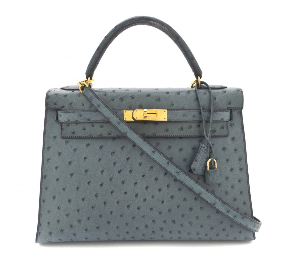 An Hermes 32cm Blue Ostrich Leather Kelly Bag, 32 x 23
