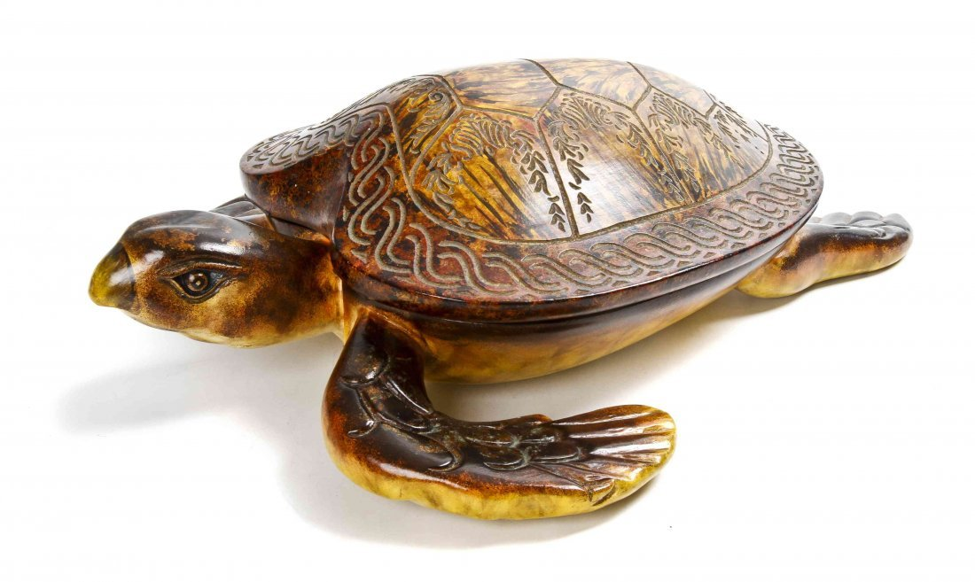 A Decorative Carved and Painted Wood Turtle-form Box,