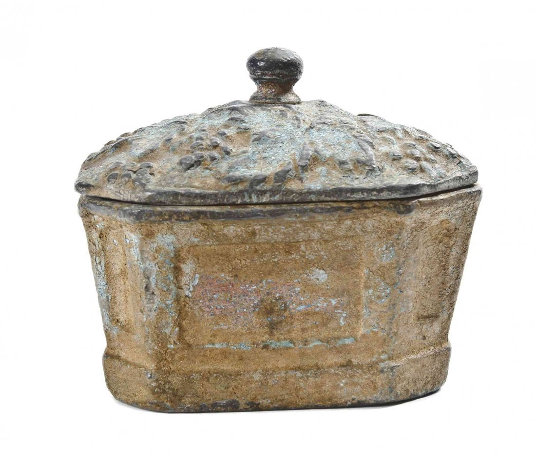 An English Lead Tobacco Box, Height 4 5/8 inches.