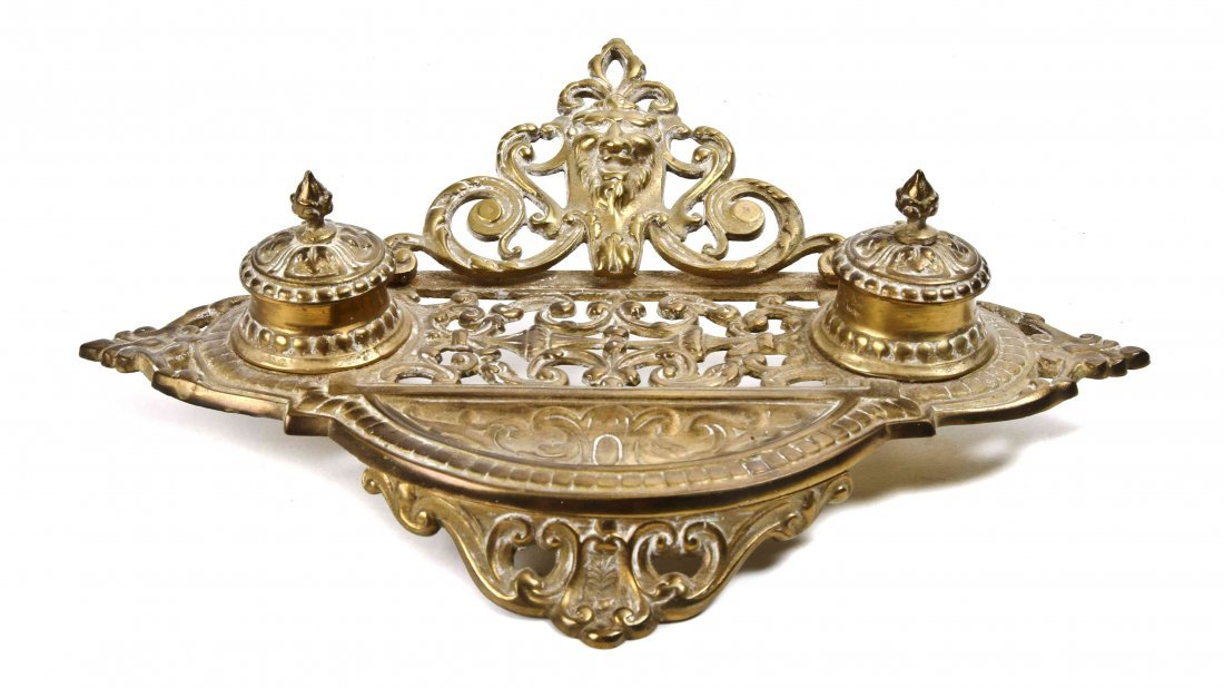 A Victorian Style Brass Standish, Width 13 5/8 inches.