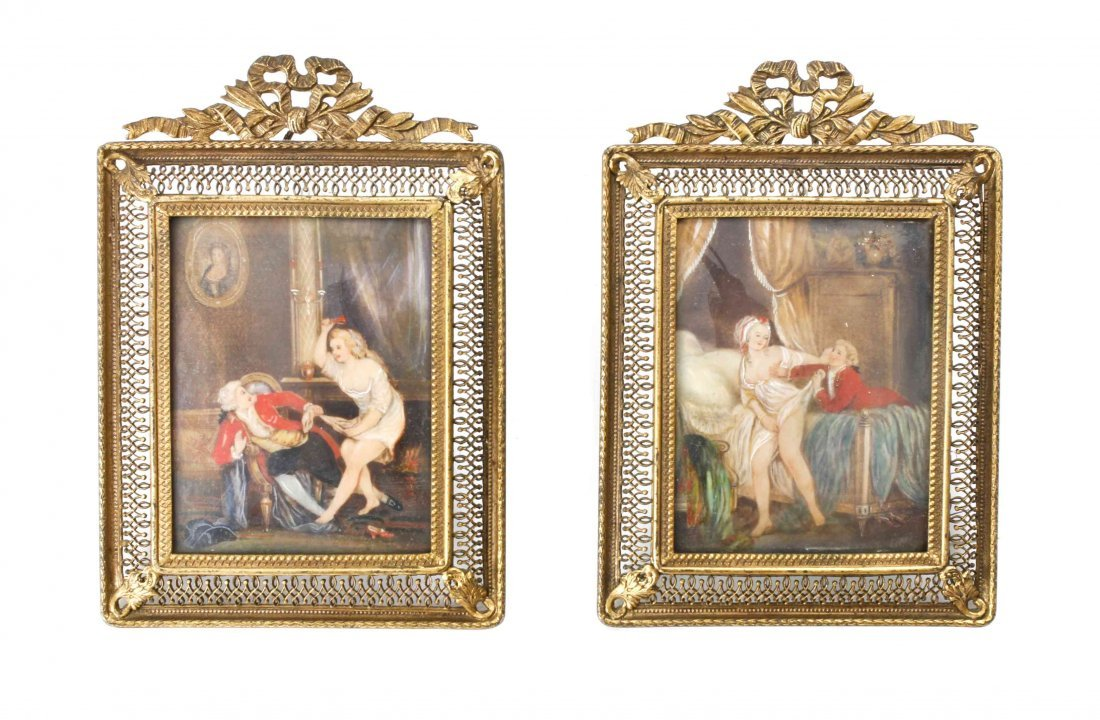 Two Framed German Miniature Paintings on Ivory, Height