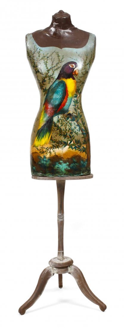 A Decorative Painted Victorian Style Dress Form on