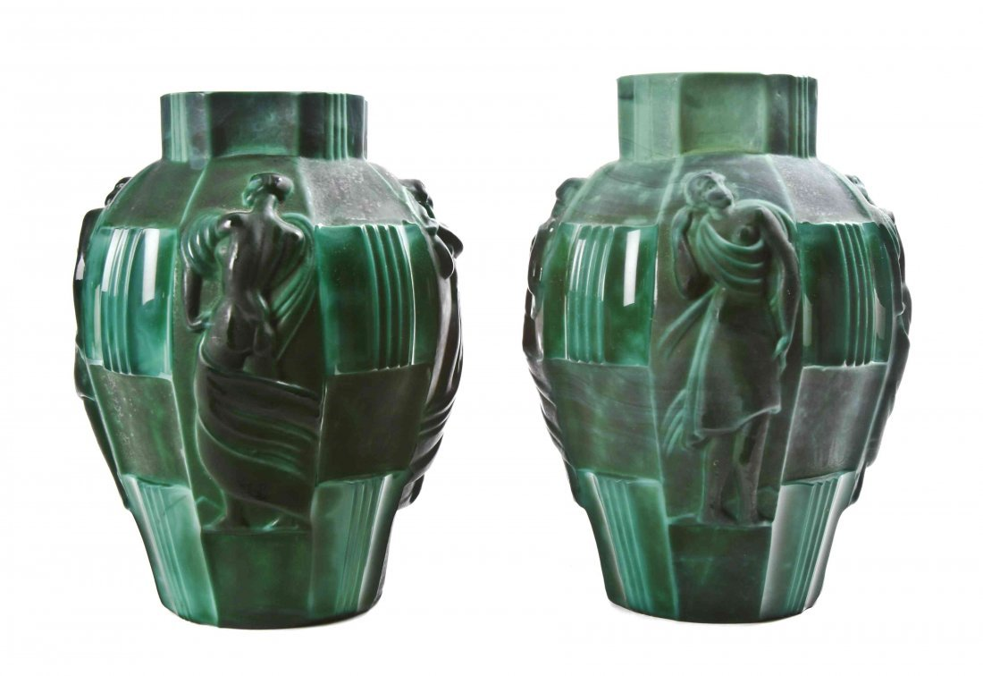 Two Czechoslovakian Art Deco Style Green Glass Vases,