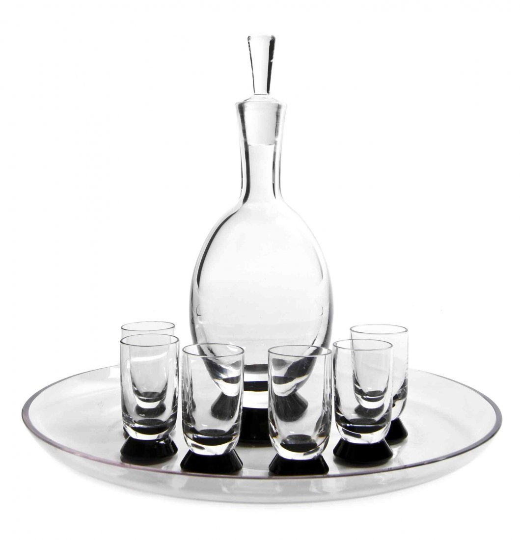 A Swedish Art Deco Style Glass Cocktail Service,