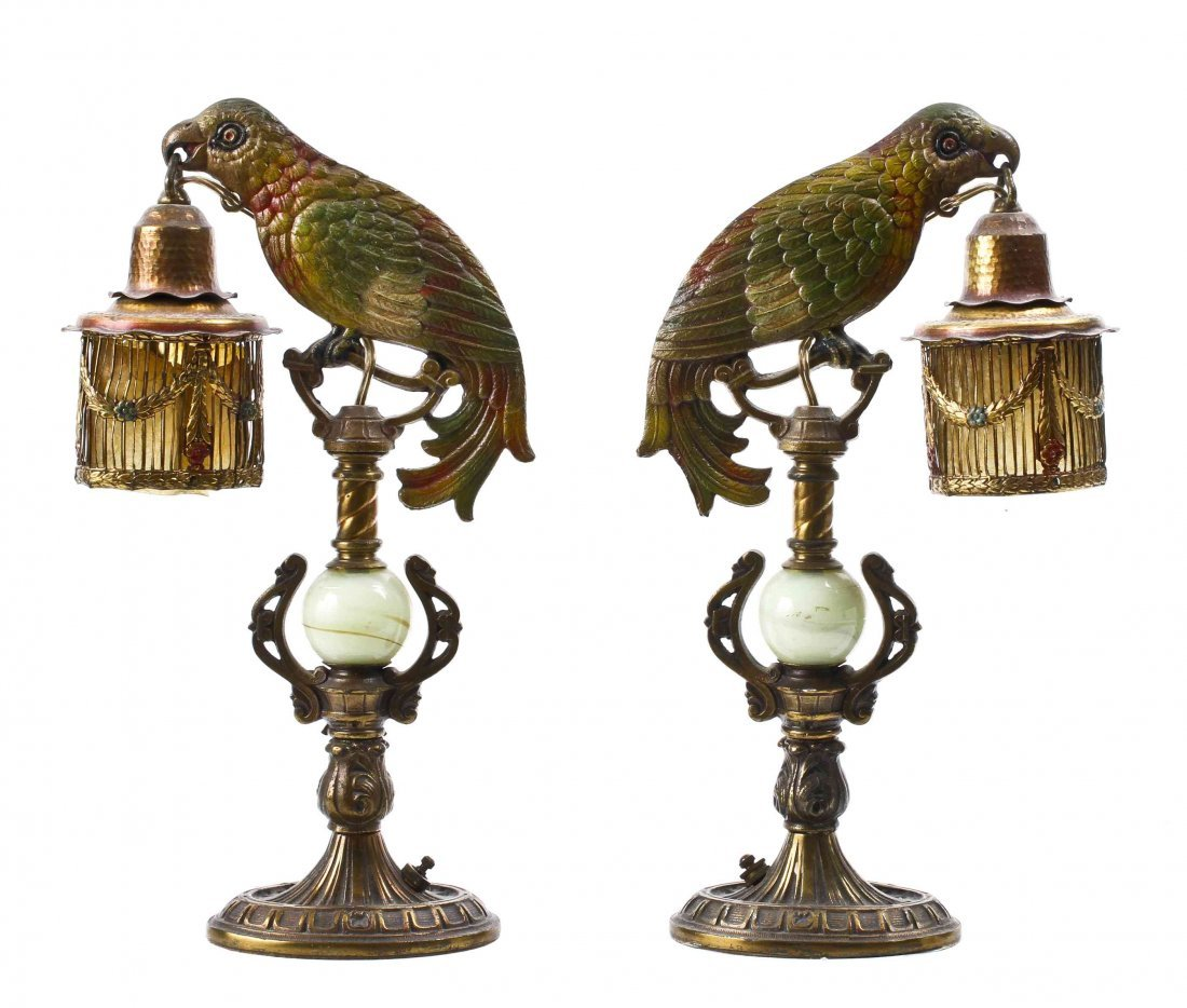 A Pair of Cold Painted Metal Figural Boudoir Lamps,
