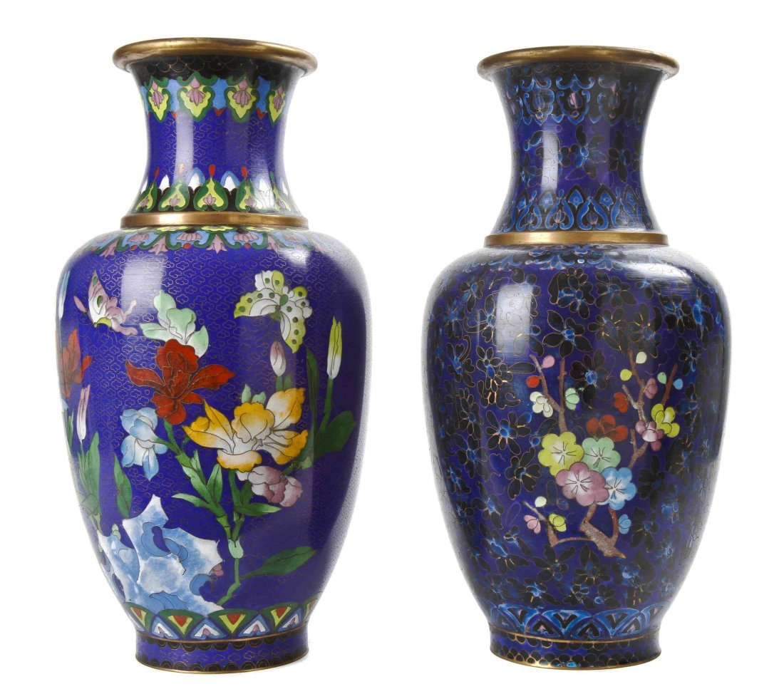 A Pair of Cloisonne Enamel Vases, Height 15 3/8 inches.