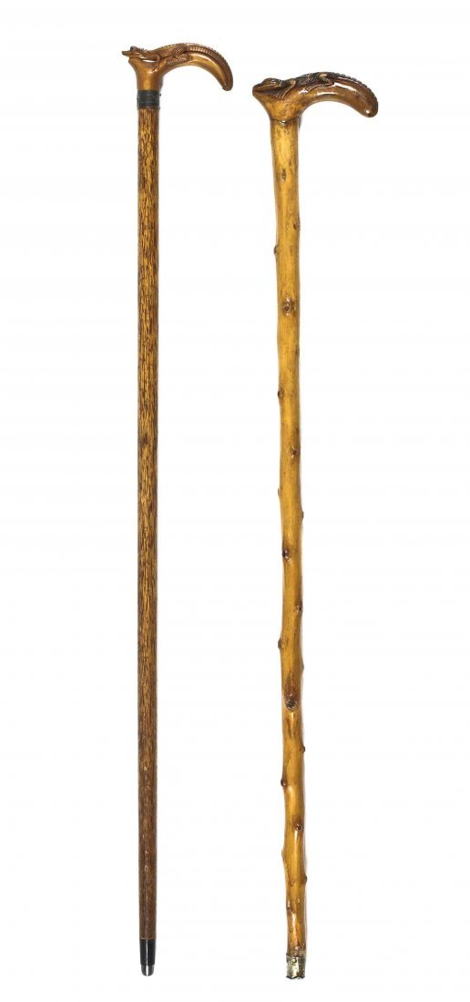 Two American Wood Canes, Height of taller 36 3/4