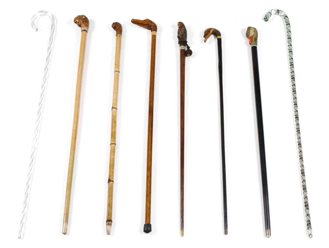 A Collection of Eight Canes and Walking Sticks, Height