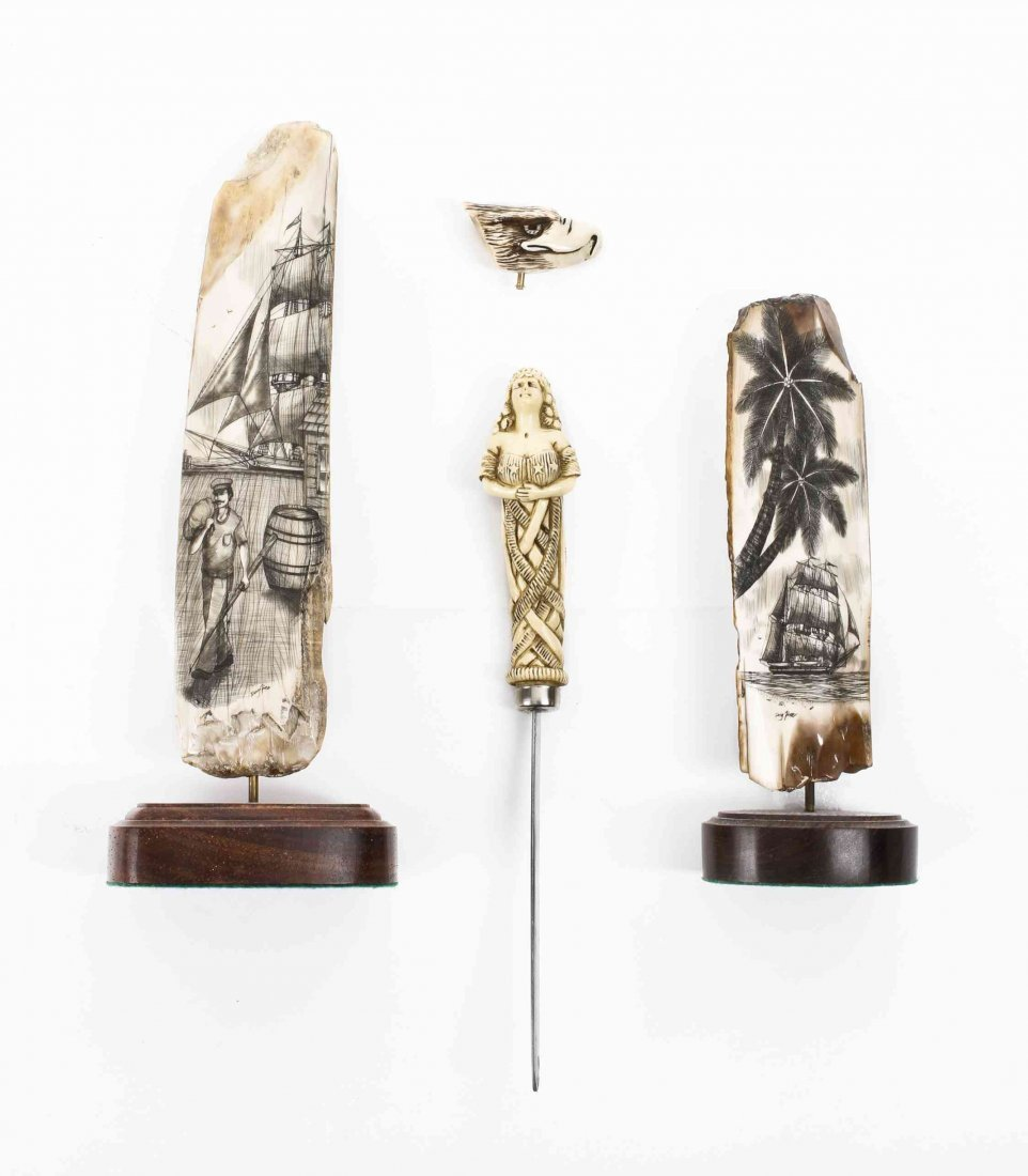 Two Contemporary Lahaina Scrimshaw Articles, Height of