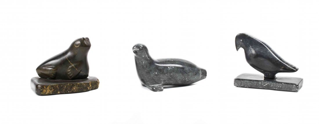 Three Inuit Carved Animal Figures, Height of tallest 4