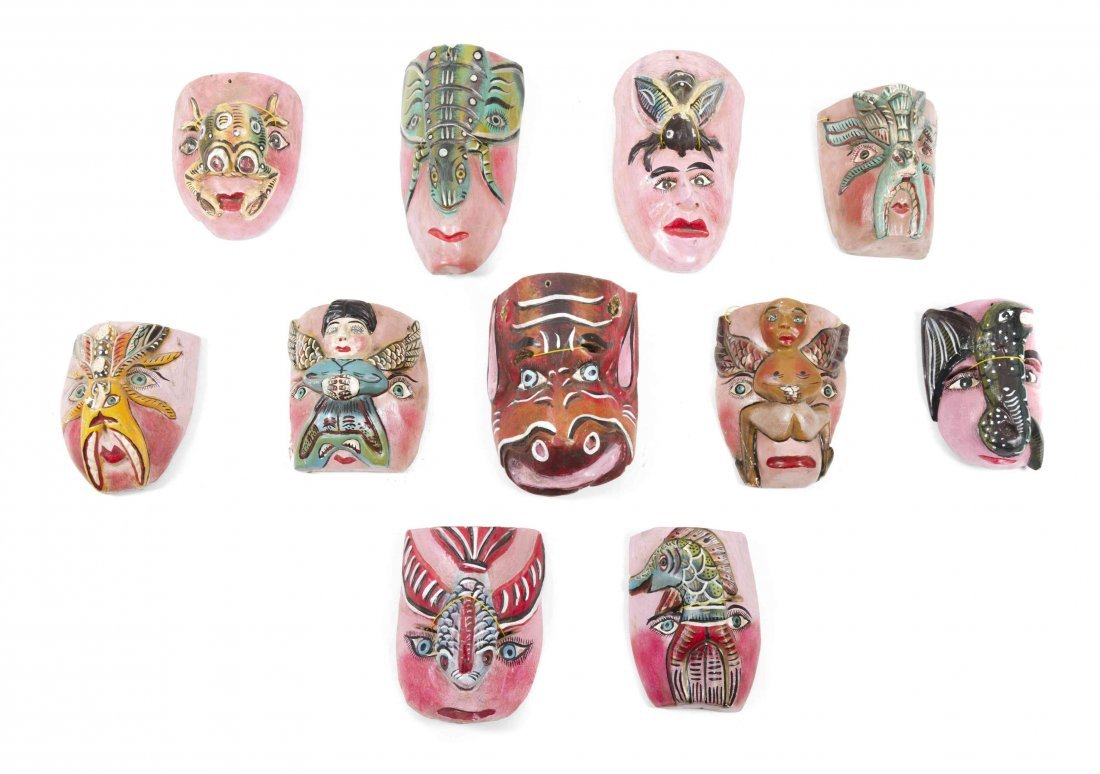 A Collection of Twenty-Five Mexican Carved and Painted