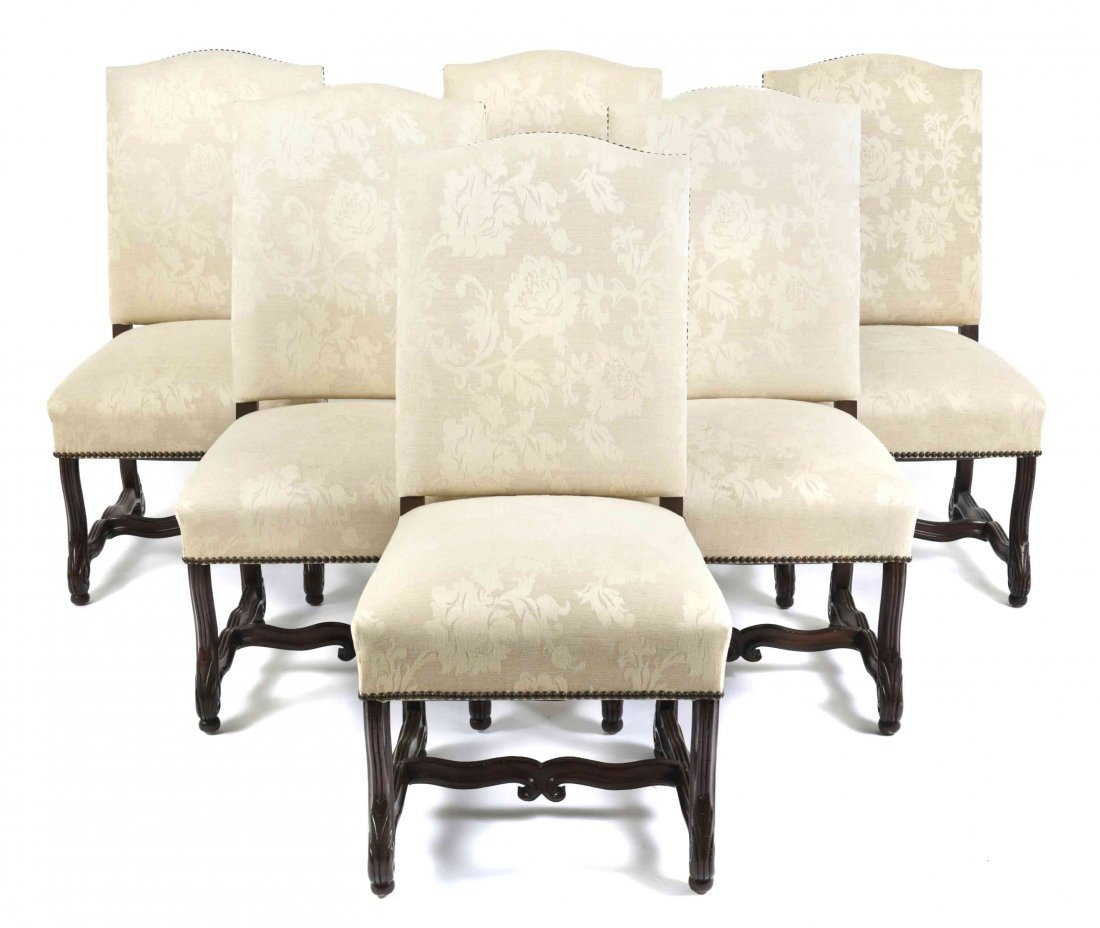 Sixteen Jacobean Style Dining Chairs, Height 40 1/2 x