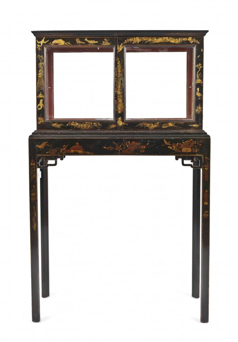 An English Japanned Vitrine on Stand, Height overall 55