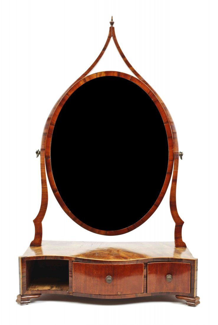 A George III Mahogany Shaving Mirror, Height 29 1/2 x