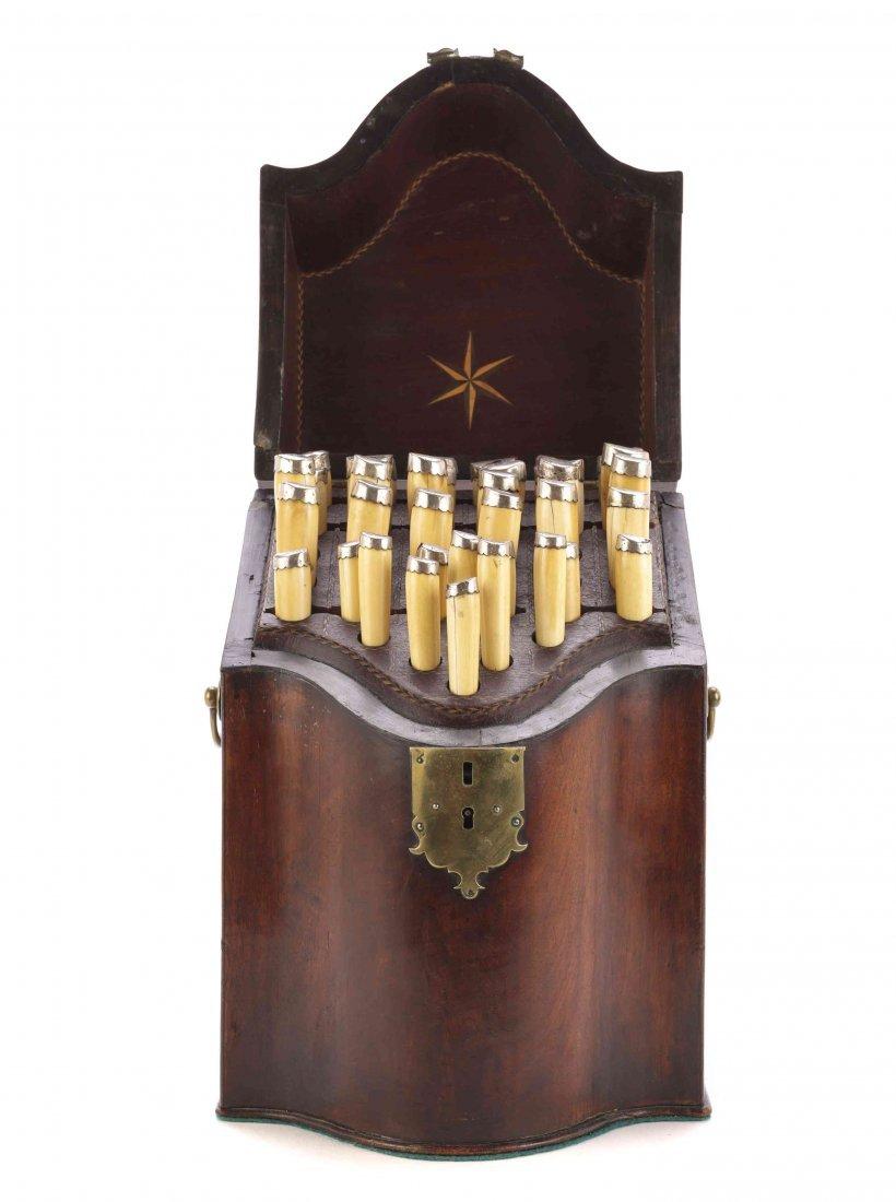 A George III Mahogany Cutlery Box with Ivory-Handled