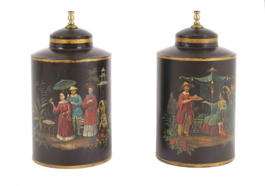 A Pair of Chinoiserie Tea Canister Table Lamps, Height