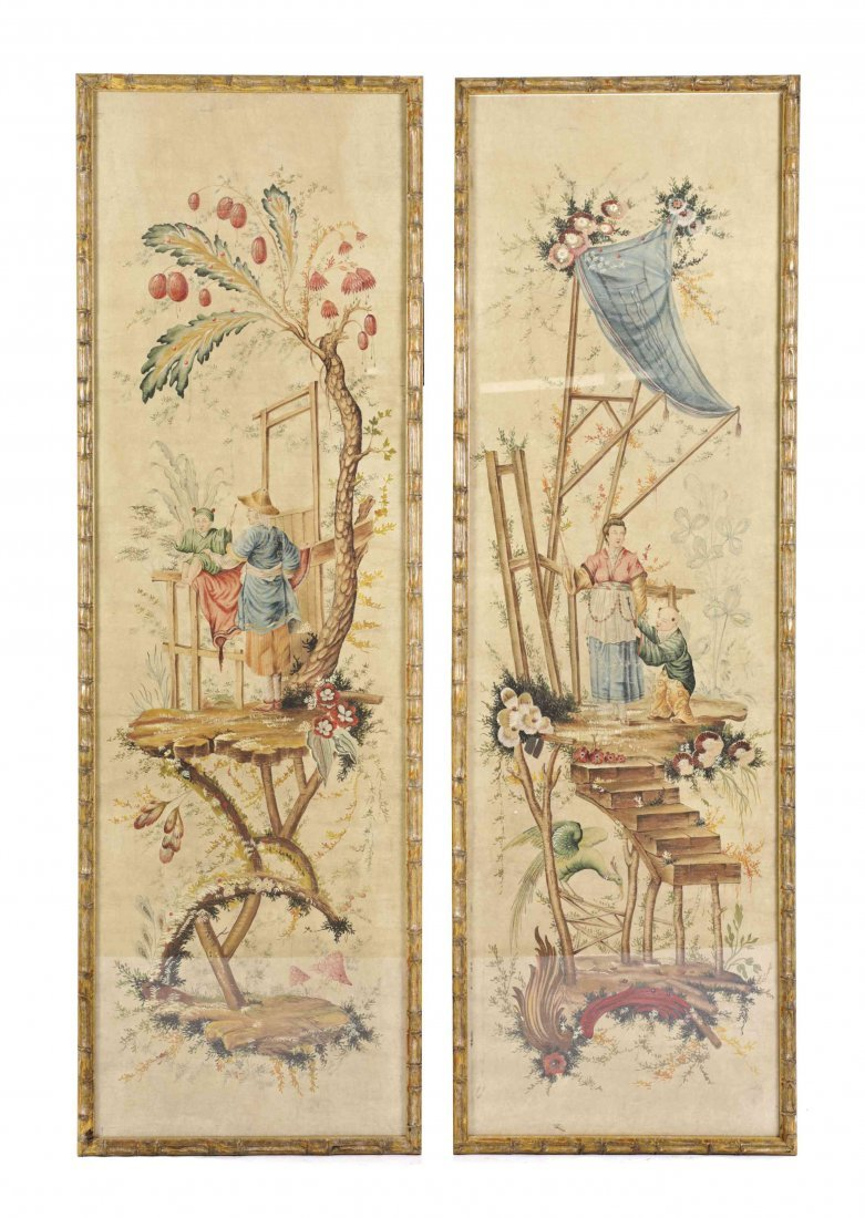 Four Chinese School Wallpaper Panels, Height 62 x width
