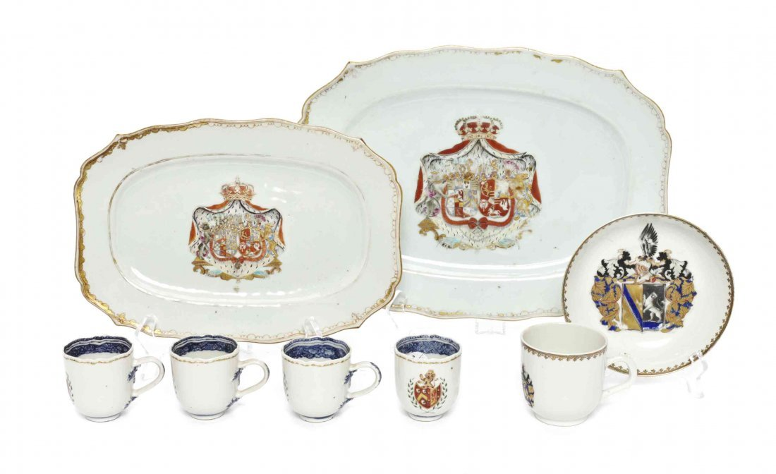 A Group of Chinese Export Porcelain Armorial Table