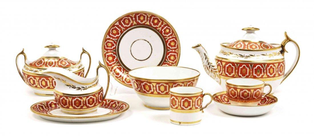 A Worcester Porcelain Tea Set, Length of teapot 9 3/4