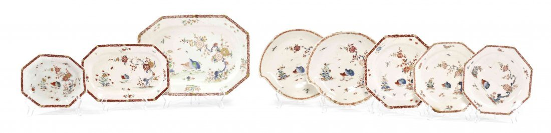 Eight English Porcelain Table Articles, Length of