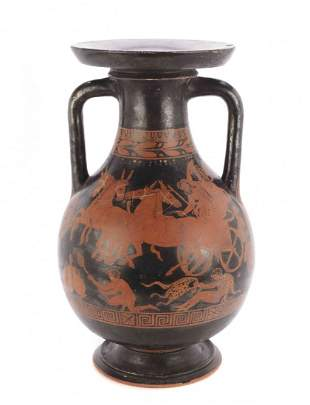 A Greek/Attic Red Figure Earthenware Amphora, Height 19