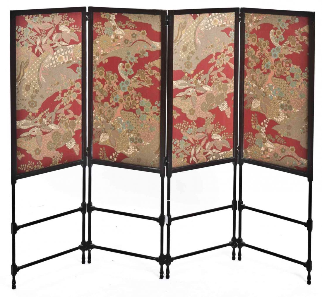 A Late Victorian Four-Panel Floor Screen, Height 49 x