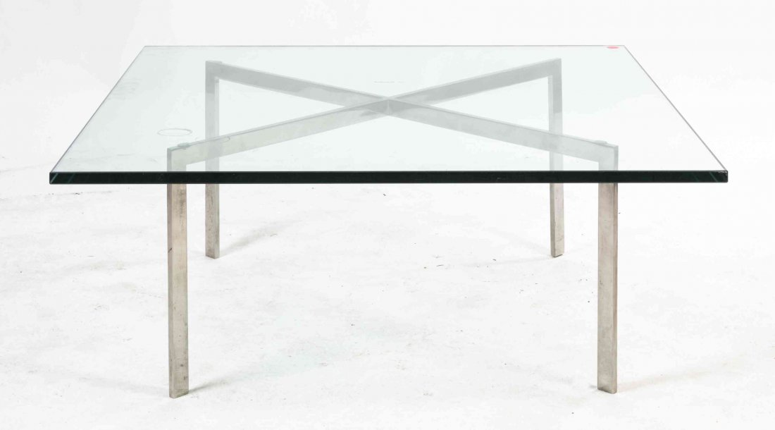 An American Chrome and Glass Low Table, after the Mies
