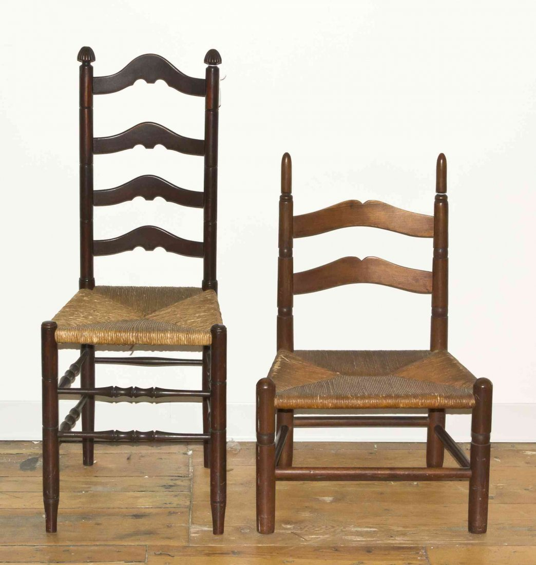 Two American Ladder Back Side Chairs, Height of taller