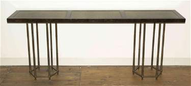 A Contemporary Laminate and Brass Console Table Height