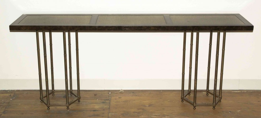 A Contemporary Laminate and Brass Console Table, Height