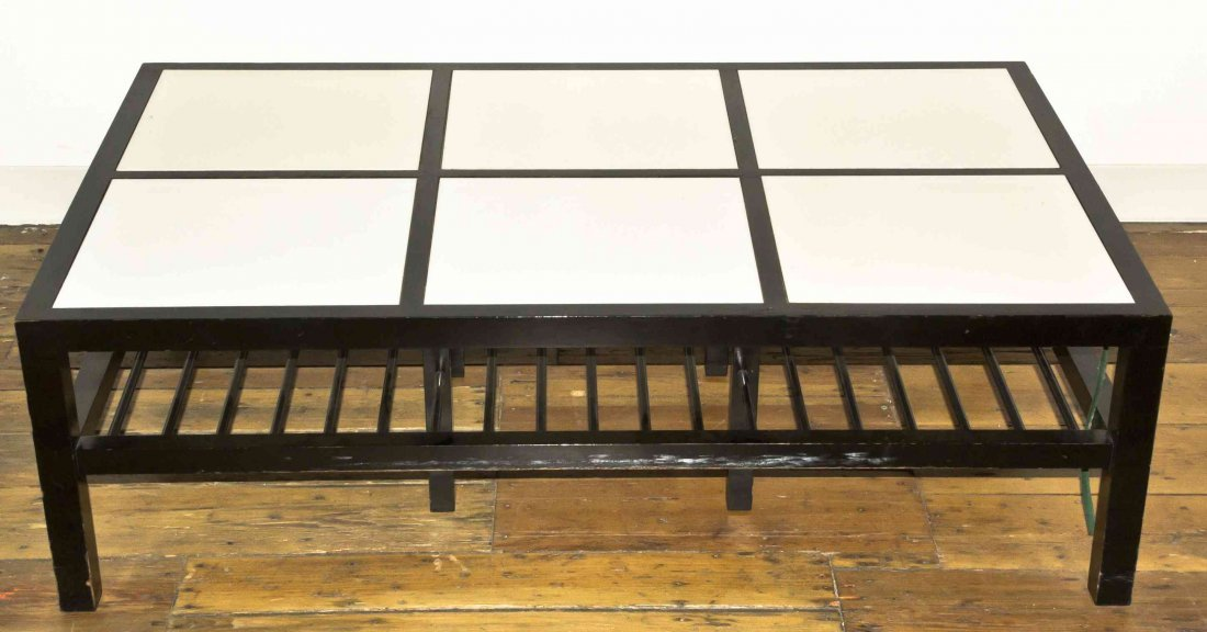 A Mid Century Ebonized and Milk Glass Inset Low Table,