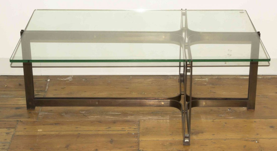 A Bronze and Glass Low Table, Height 16 1/4 x width 45