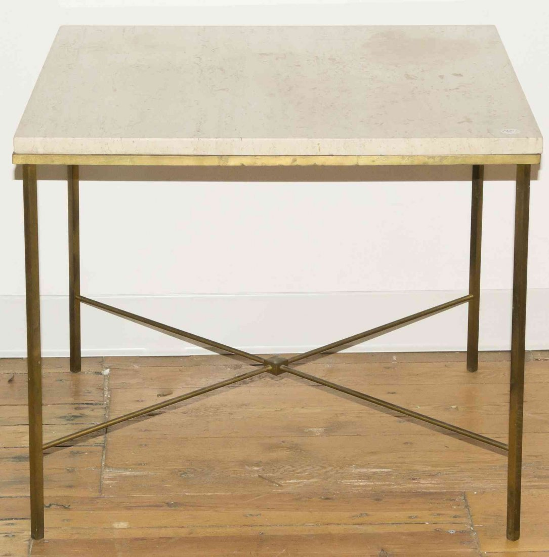 A Mid Century Brass and Travertine Marble Occasional