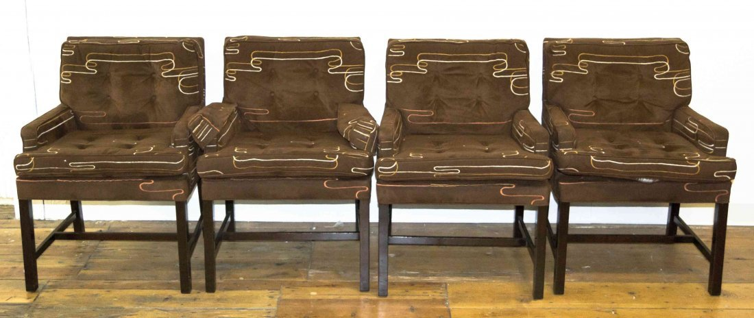 A Set of Four Mid Century Upholstered Armchairs, Height