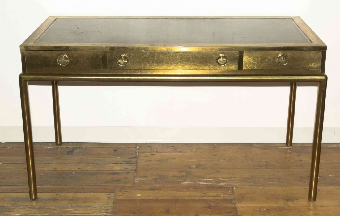 A Brass and Leather Inset Writing Desk, Mastercraft,