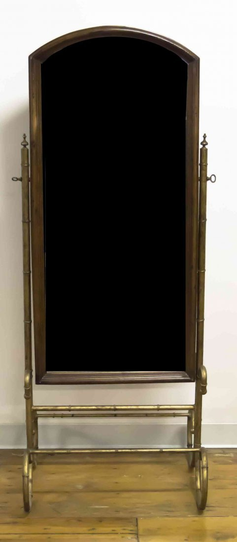 A Brass and Walnut Cheval Mirror, Height overall 63