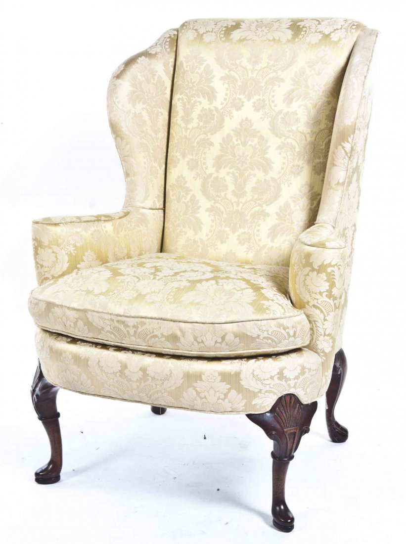 A Georgian Style Mahogany Wing Back Chair, Height 43