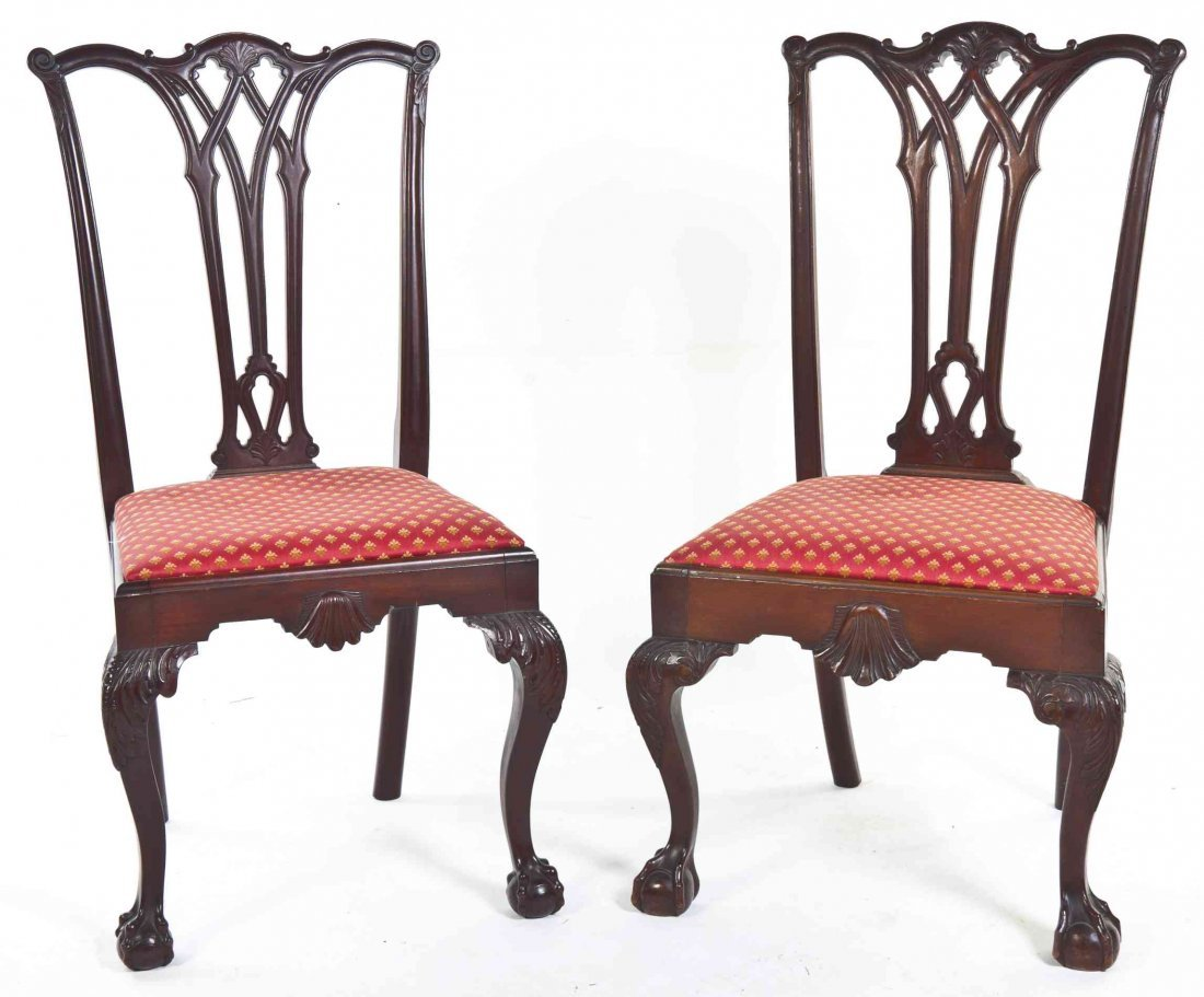 A Pair of Chippendale Style Mahogany Side Chairs,