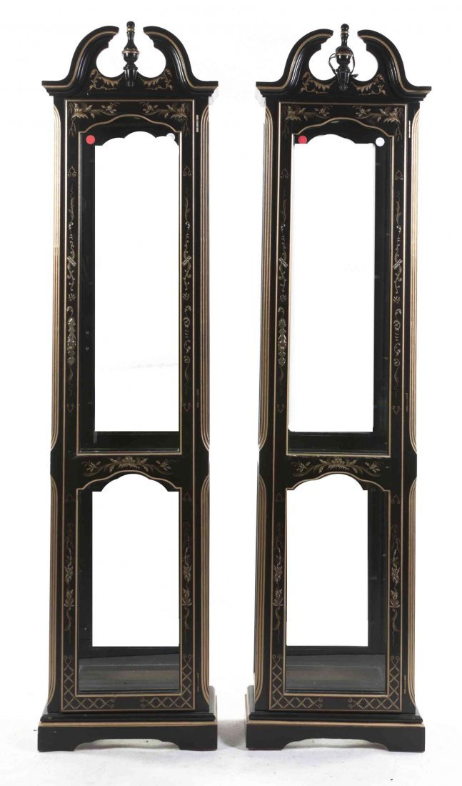 A Pair of American Ebonized and Partial Gilt Display
