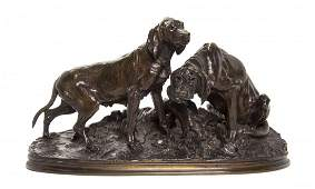 A French Bronze Animalier Group after Pierre Jules