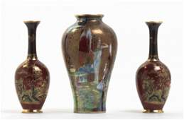A Group of Three Ceramic Vases, Height of tallest 5 3/4
