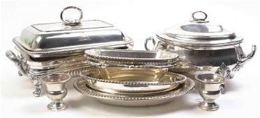 Nine Silver-Plate Table Articles, 19th-20th Century,