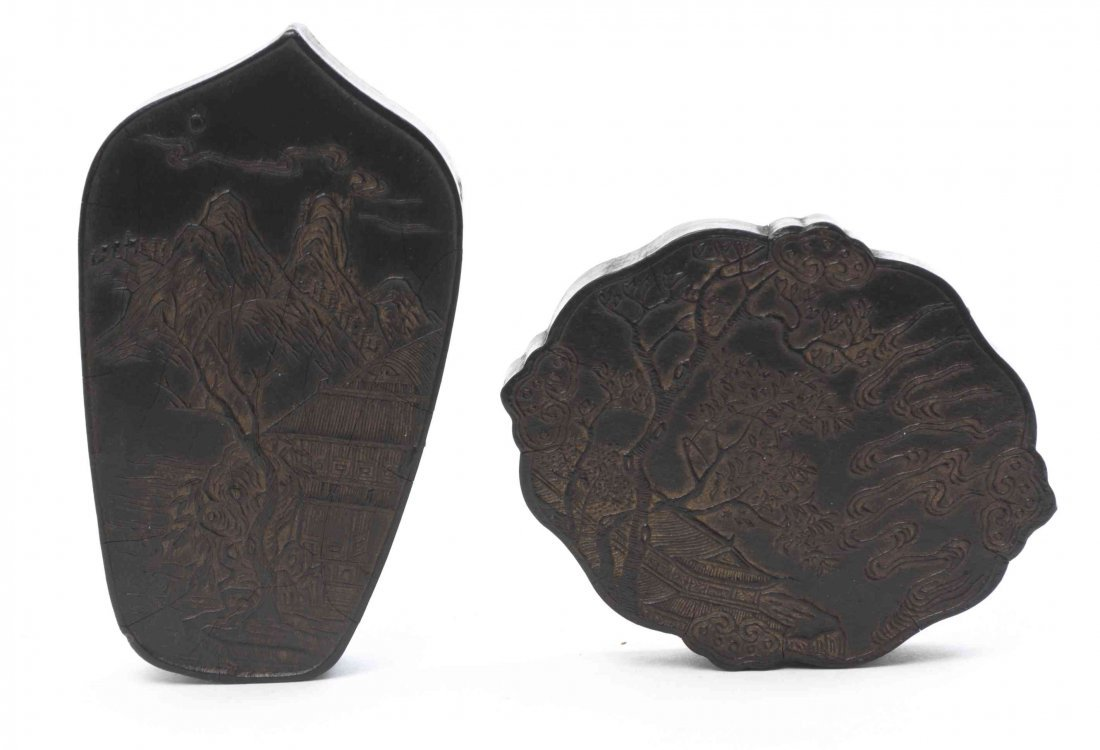 Two Chinese Inkstones, Height of taller 3 inches.
