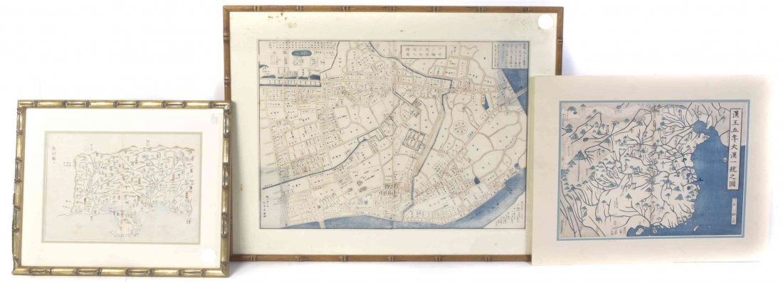 Three Japanese Maps, Height of largest images 17 x