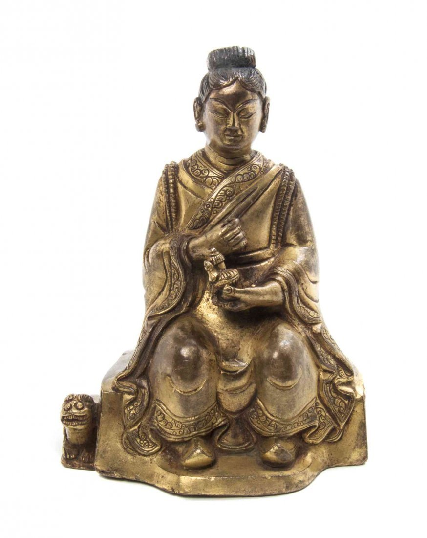 A Chinese Gilt Bronze Figure of a Lady, Height overall