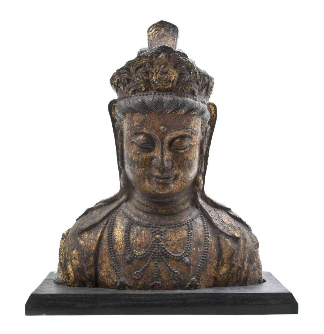 A Chinese Cast Gilt Bronze Bust of Guanyin, Height 22