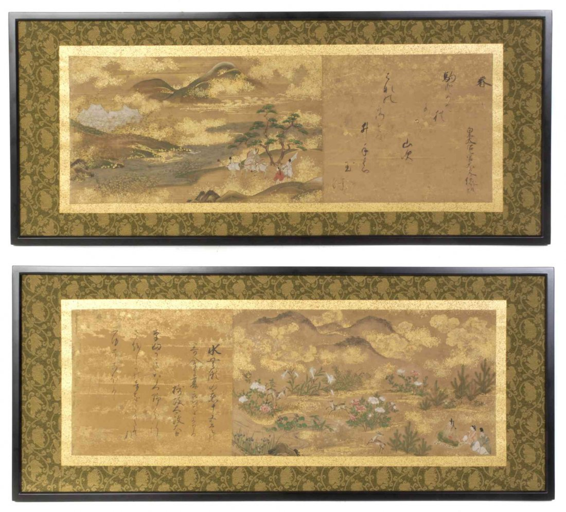 Two Japanese Handscroll Paintings on Paper, Height 10